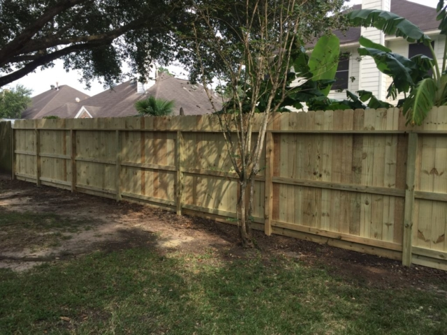 New Pine Fence Installed with Three Rails